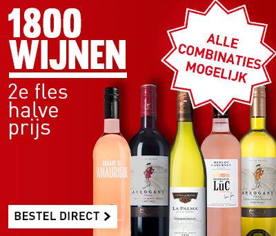 1800 flessen: 2e halve prijs!
