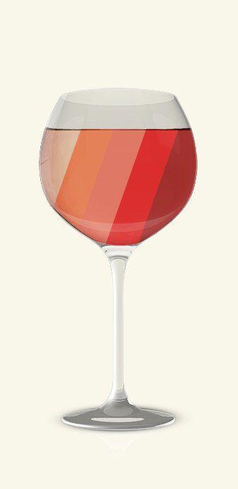 Een getekend wijnglas met allemaal verschillende kleuren rode wijn erin