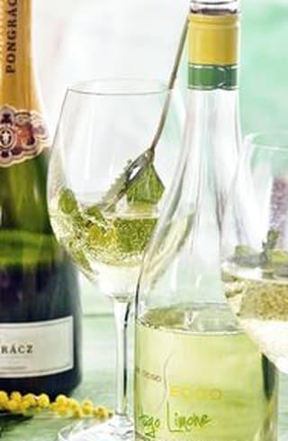 Een fles Hugo wijn met een glas