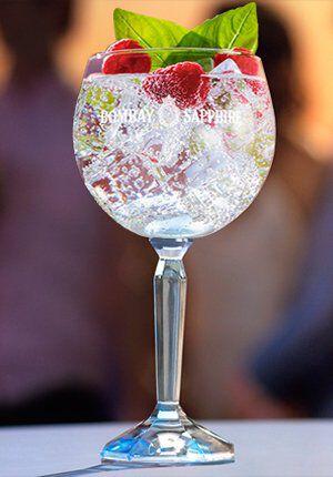 Gin-tonic met framboos en basilicum