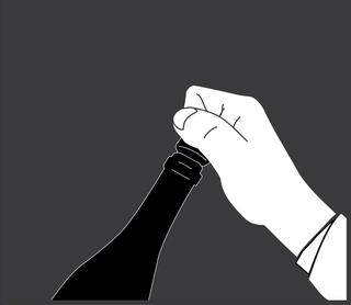 stap 2: draai aan de fles, niet de kurk!