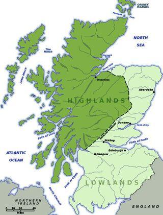 landkaart van de Schotse hooglanden
