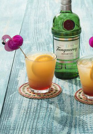 Een fles Tanqueray met een cocktail ervoor
