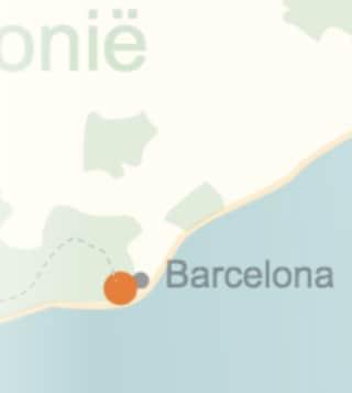 kaart van de streek rond Barcelona
