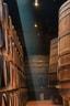 Grote wijnvaten opeen gestapeld
