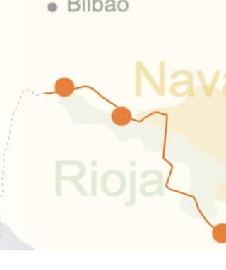 kaart van de streek rond Ribera del Duero