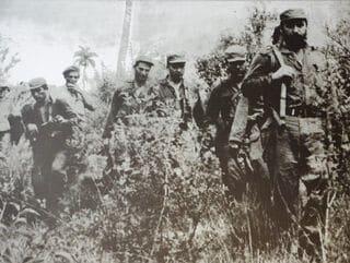 Zwart wit foto soldaten Spaans Amerikaanse oorlog