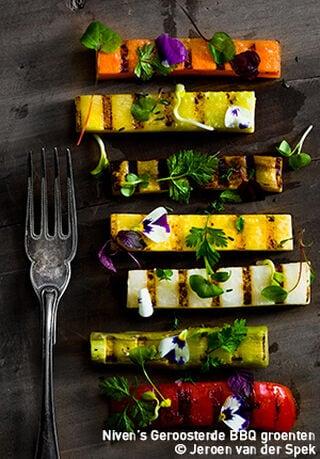gerecht met gegrilde groenten