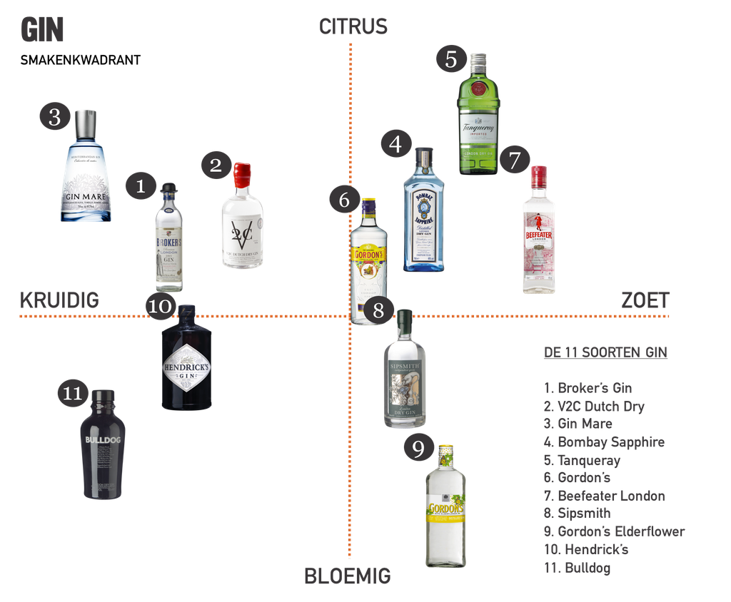 Smaken van verschillende soorten gin