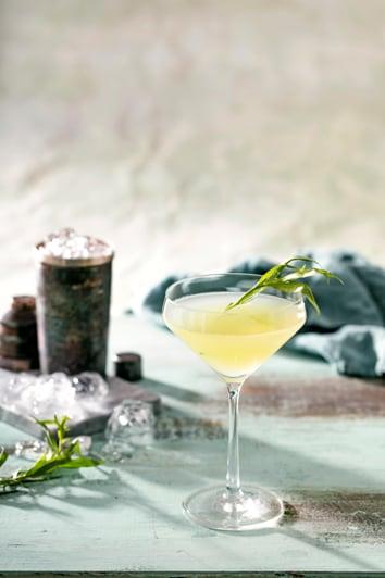 Een vodka gimlet cocktail in een martiniglas
