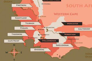 Kaart wijnregio Zuid-Afrika