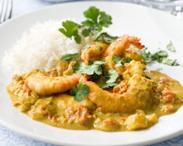 Thaise curry met gamba's
