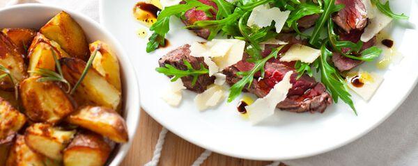 Biefstukreepjes met rucola