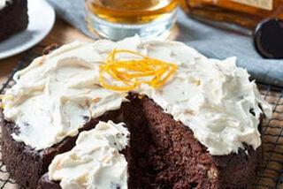 Chocoladetaart met honing-sinaasappel-mascarpone