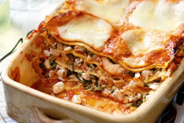 Lasagne met vis en spinazie