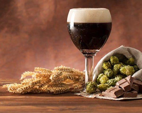 bruin bier in een glas, graan en hop